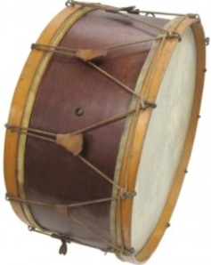 Wurlitzer rope-tensioned bass drum; typical sizes varied from approximately 12 to 18 inches in depth and 24 to 36 inches in width.